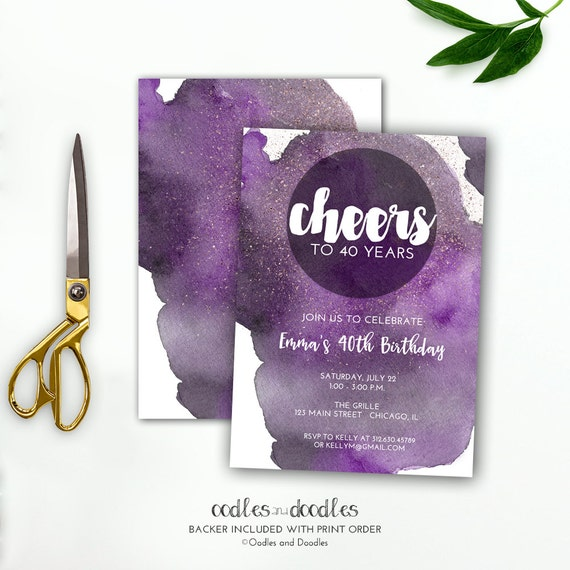Cheers To 40 Years Birthday Invitation Purple Watercolor 40th