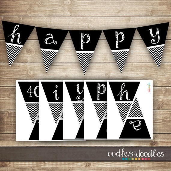 image about Free Printable Chevron Banner Minecraft identified as Chevron Birthday Banner / 30th, 40th, 50th Printable