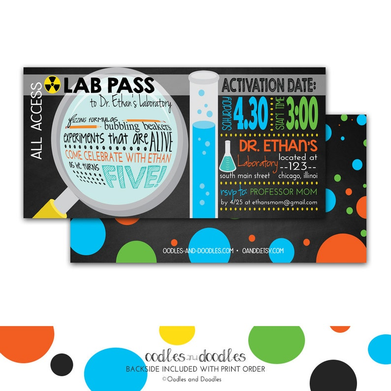Mad Scientist Party Invitation Science Birthday Invitation Etsy