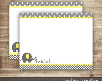Elephant & Chevron Thank You Note Card / Yellow and Gray / Gender Neutral Baby Thank You Note / Flat Note Card INSTANT DOWNLOAD - Printable