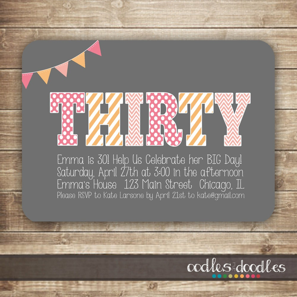 30th Birthday Invitation Thirty 40th 50th Birthday Etsy