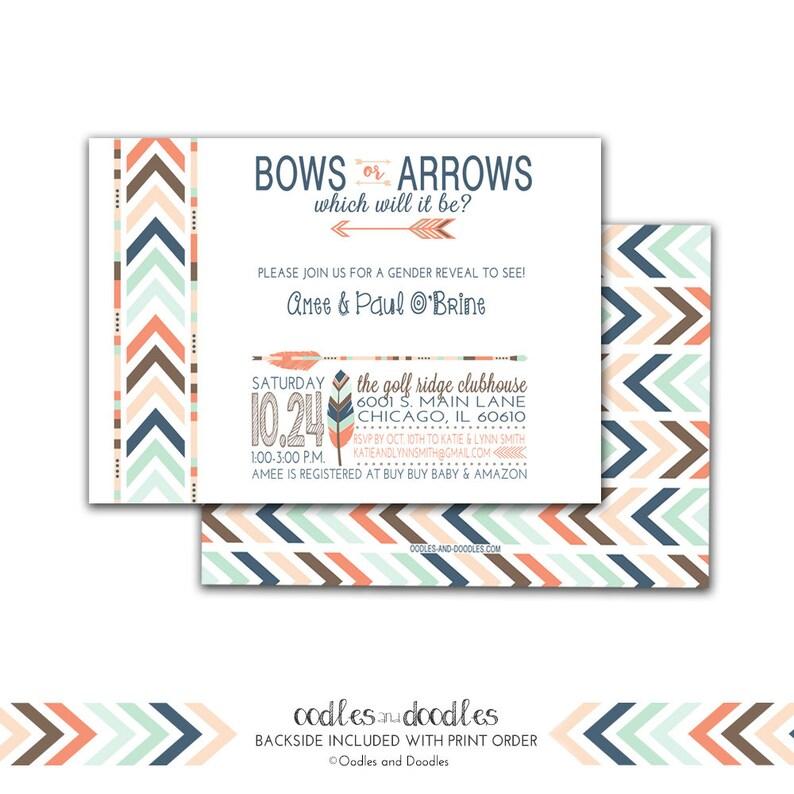 Gender Reveal Invitation Tribal Invitation Bows or Arrows image 0