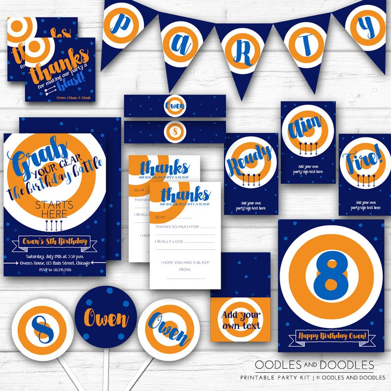 Dart Gun Birthday Party Dart Blaster Blue and Orange image 0