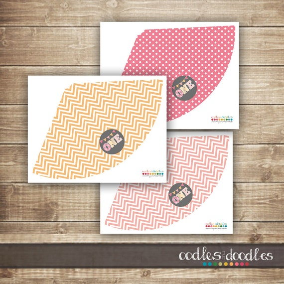 1st Birthday Party Hats First Girls Pink Orange And Gray Chevron Stripes Polka Dots