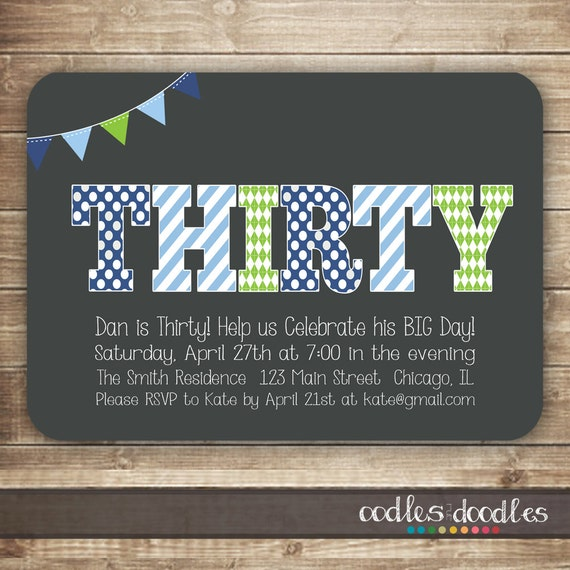 30th Birthday Invitation For Men Thirty 40th 50th Male Milestone Blue Green