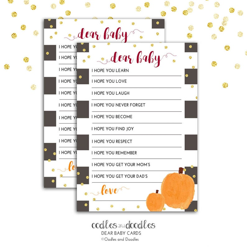 Baby Shower Games Printable Dear Baby Card Baby Wishes Fall image 0