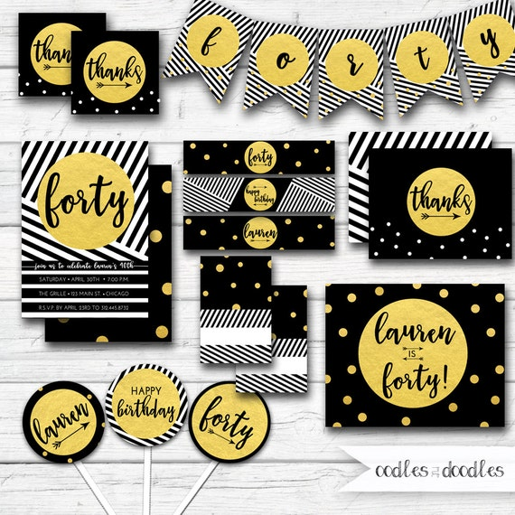 Black And Gold Party Decor 40th Birthday