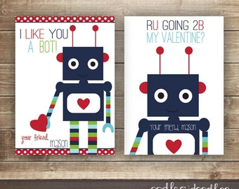 Boys Valentines / Personalized Valentines / Kid's Valentine's Day Cards / Robots / Valentine's Day - Printable