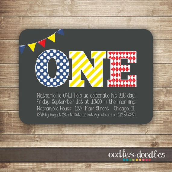 1st Birthday Invitation ONE First 2nd 3rd Twins Primary Colors