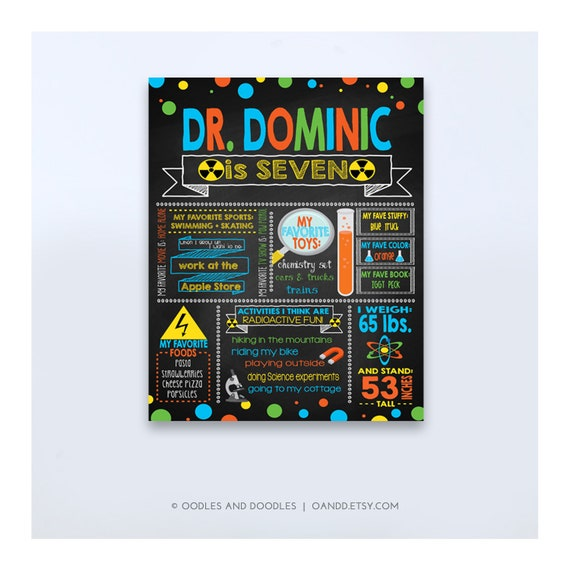 graphic relating to Printable Mad Science Sign identified as Outrageous Scientist Birthday Poster, Birthday Chalkboard Poster