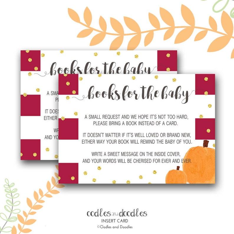 Bring a Book Instead of a Card Baby Shower Insert Pumpkin image 0