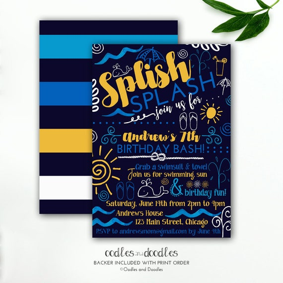 Pool Party Invitation Boys Birthday Nautical Splash Pad Summer Navy Blue Yellow