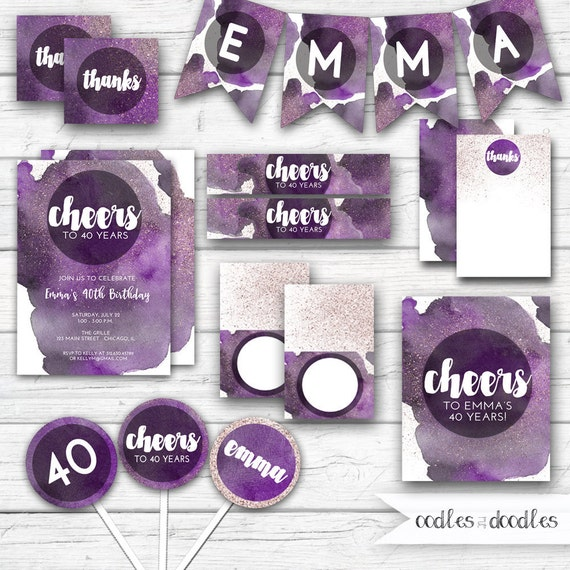 Cheers To 40 Years Birthday Party Package Purple Watercolor 40th Decorations Forty Milestone