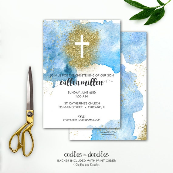 baptism invitation boys blue ombre and gold watercolors