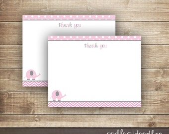 Elephant & Chevron Thank You Note Card / Pink and Gray / Baby Girl Thank You Note / Flat Note Card INSTANT DOWNLOAD - Printable