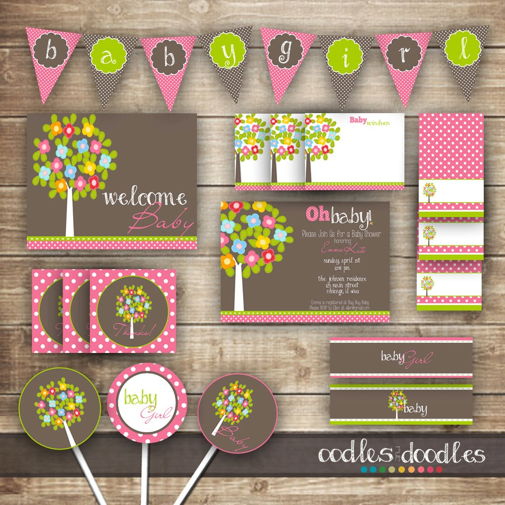 Woodland Baby Girl Shower Pink And Brown And Green Baby Etsy