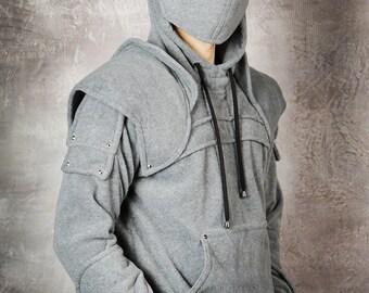 knight hoodie/mens hoodie/sweatshirts/halloween/for men/dark gray/mens gift/christmas gifts/Duncan3 Armored Knight Hoodie(100% Handmade)