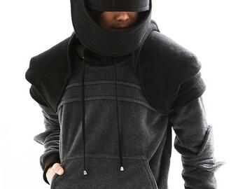 knight hoodie/mens hoodie/sweatshirts/halloween/for men/dark gray/mens gift/christmas gifts/Twon color Duncan Armored Knight Hoodie