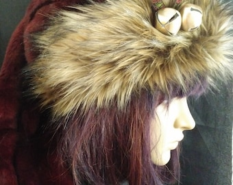 dc1e6613d9f6a8 Burgundy Stocking style Santa hat with brown wolf f aux fur trim