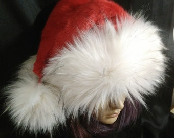 270dfd4735b12 Red Santa hat with luxury White trim