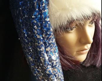 5c1cab0ee9cb3 Blue and Silver stocking style Santa hat with white luxury trim Limited  Edition!