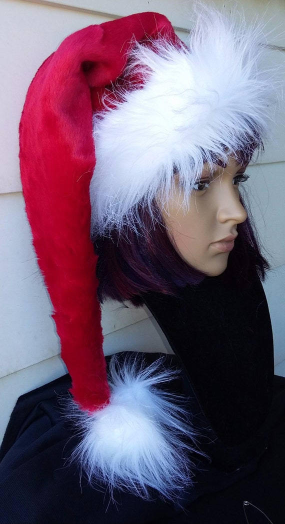 66a6357098 Red stocking style Santa hat with long luxury white fur trim