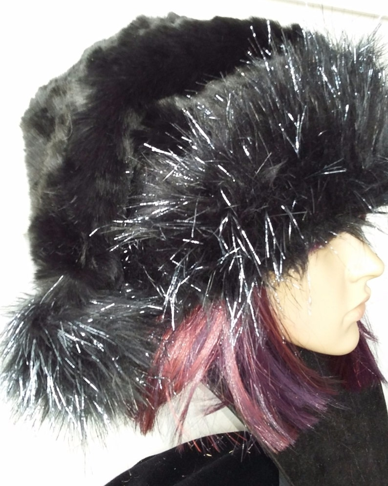 af2c37194d26e Black Santa hat with black and silver or white trim Limited