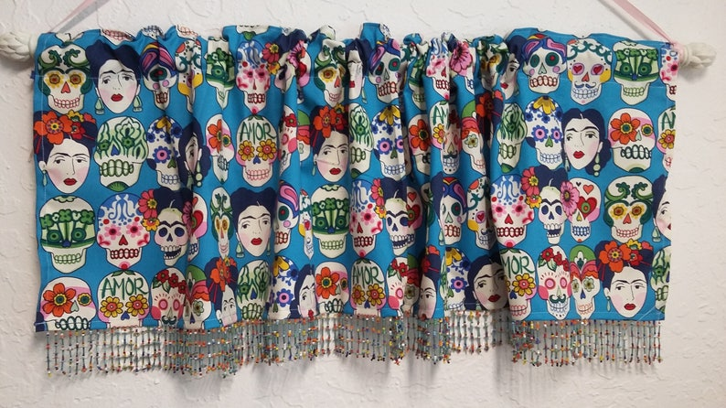 Frida Sugar skull valance with beaded trim