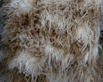 Beige and Ivory Curly Yak Faux Fur by the Yard