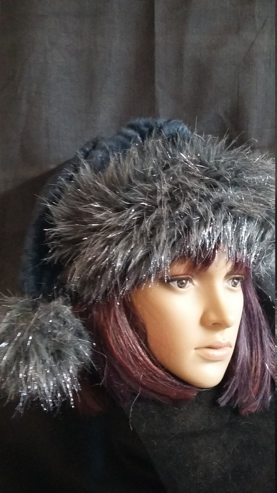 81f8ac6bcd217 Navy blue Santa hat with silver gray trim Limited Edition