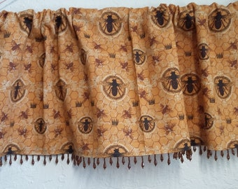 Bumble Bee valance with honey brown beaded trim