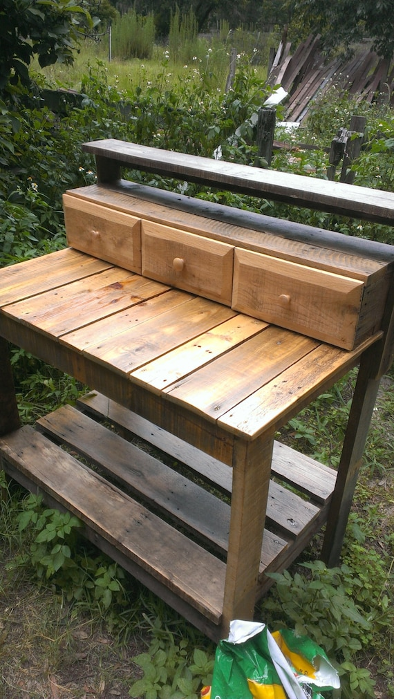Fine The Barley Planting Potting Bench Table With Drawers From Recycled Reclaimed Salvaged Wood Ibusinesslaw Wood Chair Design Ideas Ibusinesslaworg