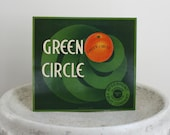 Vintage Art Deco Crate Label Green Kitchen Art 11 x 10 inches