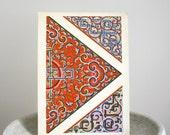 1930s Art Deco Print Orange Geometric Art 10 1/2 x 14 inches