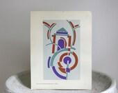 Vintage Art Deco Pochoir Print, c. 1926, Serge Gladky,  9 3/4 x 11 3/4 inches