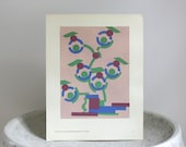 Blue Green Abstract Art, Vintage Art Deco Print,  c. 1928, 9 3/4 x 11 3/4 inches