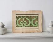 Green Gold Art Nouveau Art  Antique Art Nouveau Pattern Design 1901 Measures 15 1/2 x 11 1/2 inches