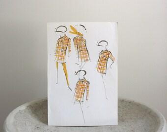 Vintage Pierre Balmain Fashion Sketch, Paris, c. 1960s, 8 1/4 x 12 inches