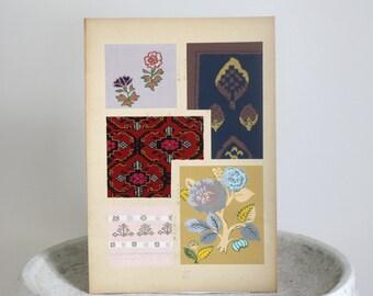 Large Botanical Print Vintage Woodblock Pattern Designs c. 1951 10 x 14 3/4 inches