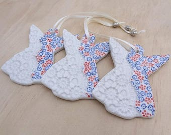 Ceramic Christmas decorations - Angel ornaments handmade from porcelain - Christmas gift, teachers gift. Red, white and blue angels