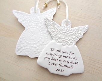Personalised angel ornament. Angel decoration. Teachers gift. In memory of a special someone.