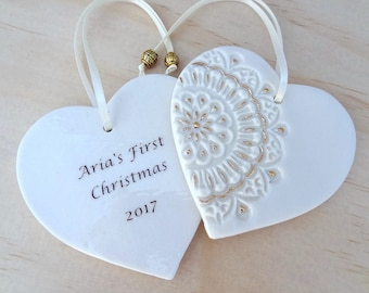 Personalised Christmas ornament with gold detail. Ceramic Christmas holiday decoration. Teacher's gift, new baby gift. Christmas keepsake.