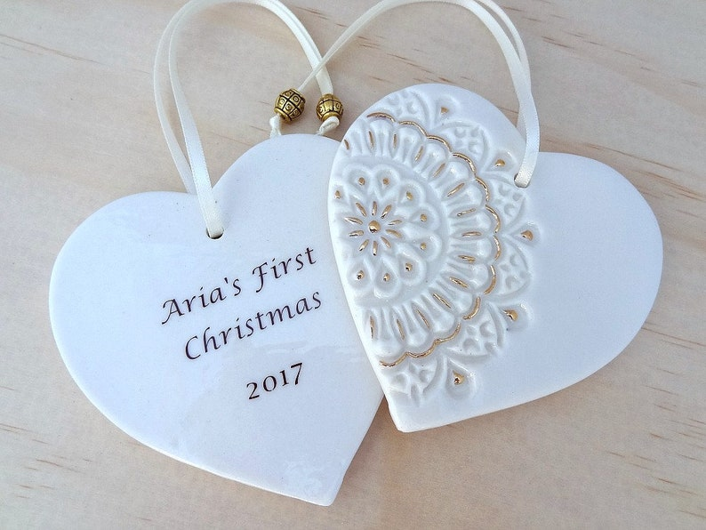 Teacher/'s gift new baby gift Christmas keepsake. Personalised Christmas ornament with gold detail Ceramic Christmas holiday decoration