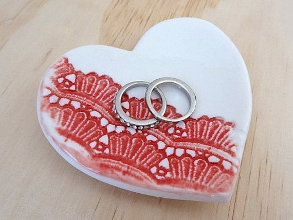 Handmade porcelain heart ring