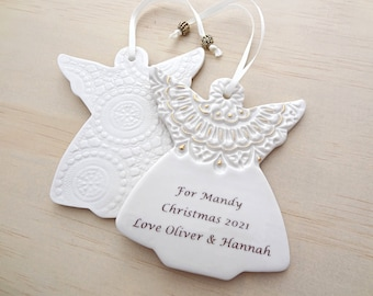 Personalised angel ornament with gold detail. Angel decoration. Teachers gift. In memory of a special someone.
