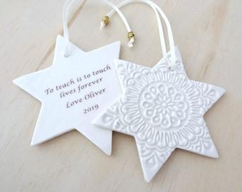 Personalised Christmas ornament. Ceramic Christmas holiday decoration. Teacher's gift, new baby gift. Christmas keepsake.