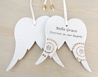 Personalised angel wings ornament with gold detail. Angel wings decoration. In memory of a special someone