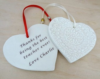 Personalised ceramic ornament. Personalised gift with your own special message. New baby gift, bridesmaid gift, mother of the bride.
