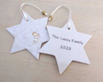 Personalised Christmas ornament with gold flower detail. Ceramic Christmas holiday decoration. Teacher's gift. Christmas keepsake.