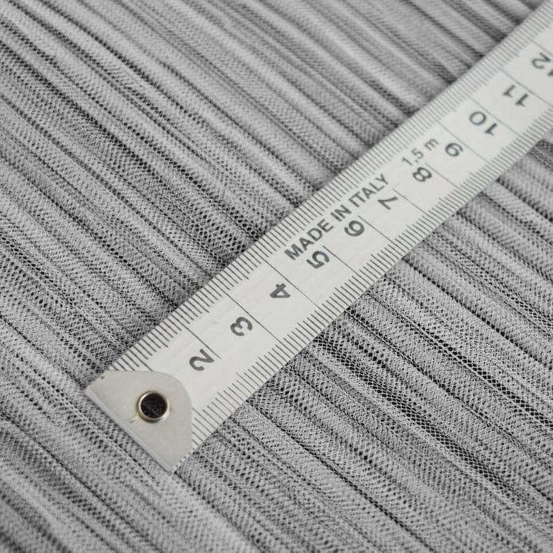 White Mushroom Pleated Polyester Tulle Fabric
